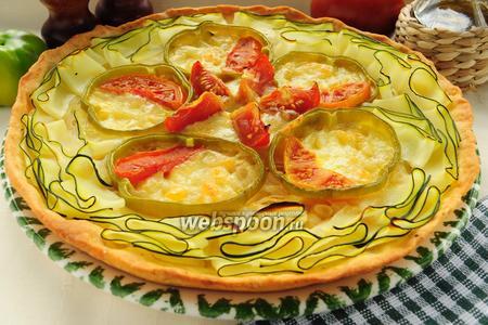 Пирог из песочного теста с овощами и моцареллой