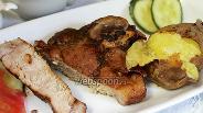 Фото рецепта Антрекот из свинины в соусе ткемали