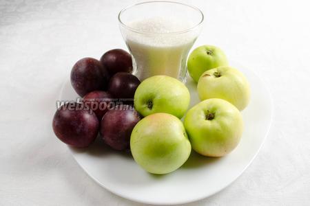 Чтобы приготовить повидло-ассорти, нужно взять яблоки, сливы, сахар.