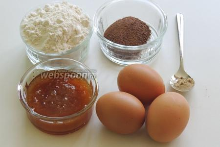 Подготовим ингредиенты: муку, разрыхлитель, соль, сахар, мёд, какао, кардамон и яйца.
