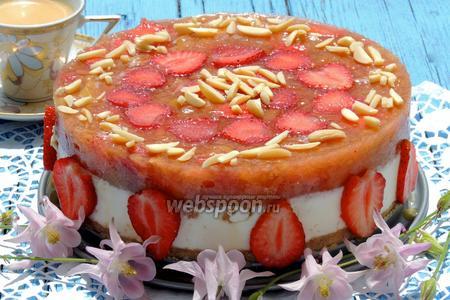 Творожный торт с ревенем