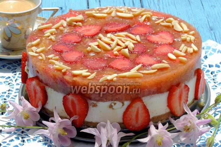 Фото Творожный торт с ревенем