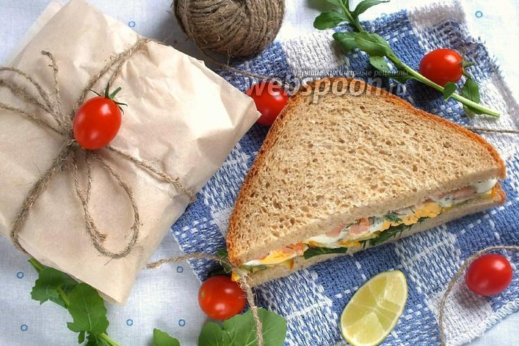 Фото Сэндвич с креветками и кабачками