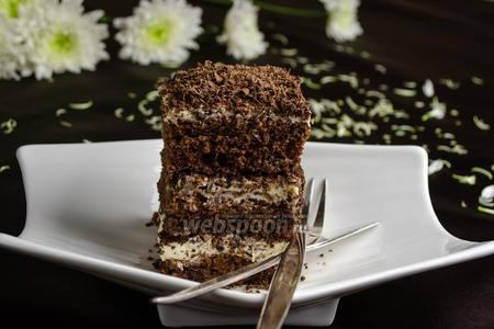 Фото рецепта Бисквитное шоколадное пирожное