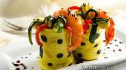 Фото рецепта Закуска из блинчиков с морепродуктами