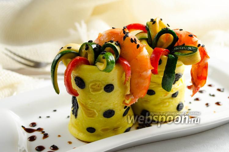 Фото Закуска из блинчиков с морепродуктами