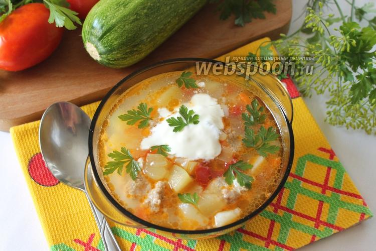 Фото Кабачковый суп с фрикадельками