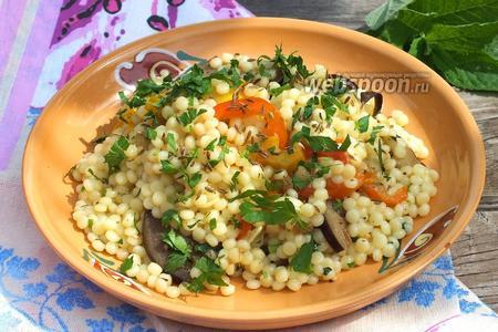 Израильский кус-кус с печёными овощами