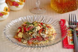 Шампиньоны с куриным филе и сладким перцем по-муромски