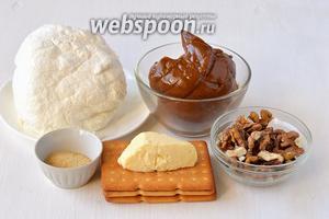 Для приготовления карамельного чизкейка нам понадобится творог, варёное сгущённое молоко, желатин, вода, орехи, печенье, сливочное масло.