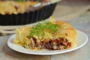 Пирог из теста фило с мясным фаршем