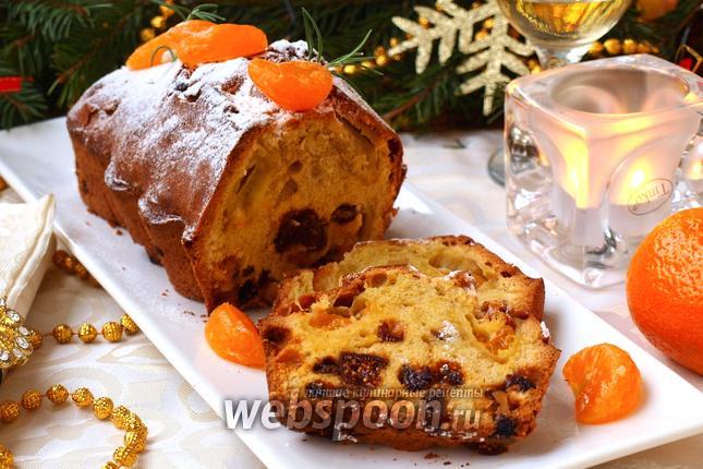 Фото Рождественский кекс с мандаринами и сухофруктами