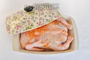 Натираем курицу солью и приправой для курицы. В форму, смазанную маслом влить 50 мл вина и столько же воды. Закрыть крышкой и поставить в разогретую до 220ºC духовку на 30 минут. Потом крышку снять и запекать ещё 40 минут при 200ºC. При необходимости закрывать курицу фольгой и смазывать жидкостью, которая вытапливается из курицы.