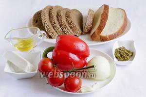 Для приготовления брускетты возьмём хлеб, оливковое масло, соус песто, перец сладкий, луковицу, чеснок, сыр фета.