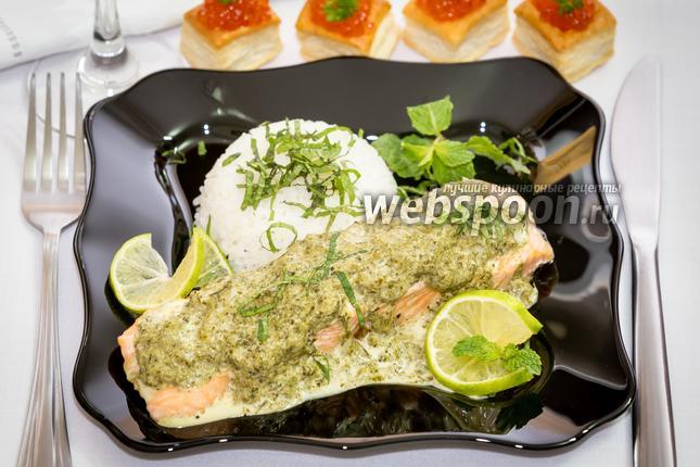 Фото Паровая сёмга в сливочно-шпинатном соусе