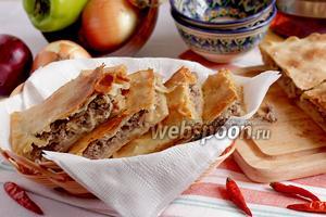 Пирог с мясом на постном тесте