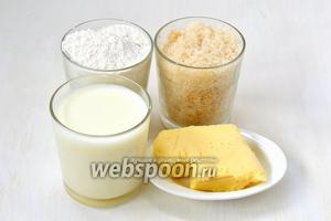 Для приготовления  молочной халвы нам понадобится сахар, молоко, мука, сливочное масло.