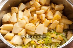 Слегка обжаренные продукты залить водой. Вода не должна покрывать овощи. Подсолить. Довести до кипения и варить под крышкой на небольшом огне около 20 минут.
