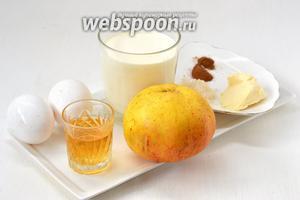 Для приготовления парфе нам понадобится масло сливочное, корица, коньяк, яблоки, яйца, сливки жирные для взбивания.