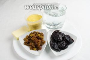Чтобы приготовить кукурузную кашу с сухофруктами, нужно взять кукурузную крупу 1 мультистакан, воду 4 мультистакана, сливочное масло, вяленый чернослив, изюм и соль.