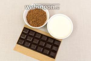 Для глазури нам понадобятся: какао порошок, сливки (у меня 20%) и тёмный шоколад.