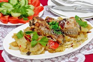 Куриные голени в маринаде, запечённые с овощами