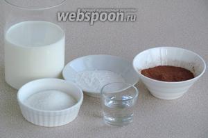 Для приготовления киселя нужно взять какао-порошок, сахар, молоко, крахмал и воду.