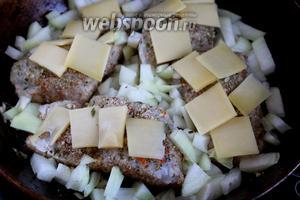 Поверхность каждой рыбной порции замостить сырными пластинками.