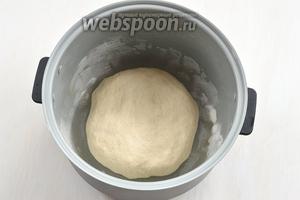 Выложить в чашу мультиварки тесто, предварительно сформировав буханку. Включить режим «Подогрев» на 15 минут. После этого мультиварку выключить, а тесто оставить для подъёма в чаше с закрытой крышкой на 45 минут.
