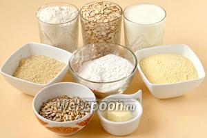 Для приготовления хлеба нам понадобится кефир, мука пшеничная, рисовая, кукурузная, кунжутная; хлопья «Геркулес», очищенные семечки, кусочек сливочного масла, соль и сода.