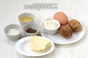 Для приготовления картофельных кнедликов в мультиварке нам понадобится картофель (5 средних штук), мука, яйца, сливочное масло, подсолнечное масло, соль, перец.