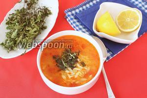 Томатный суп с пастой орзо