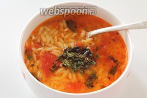 Готовый суп разлить по тарелкам и по вкусу посыпать сушёной мятой, щепоткой красного острого перца, а также  обязательно добавить немного свежевыжатого лимонного сока по вкусу.
