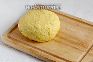 Накрыть тесто полотенцем и оставить в покое для набухания муки, примерно на 30 минут.