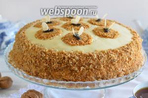 Посадите пчелок на соты, которые мы сделали на поверхности торта. Приятного аппетита!