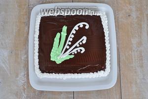 Дать торту постоять немного и подавать. Из указанного количества получается небольшой торт из двух коржей размером 18х18 см.