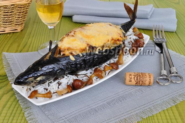Фото Скумбрия запечённая с сыром и грибами