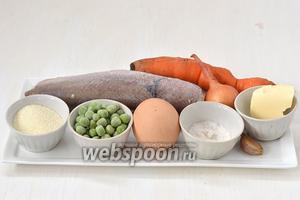 Для приготовления блюда нам понадобится хек, морковь, лук, горошек замороженный, яйцо, манка, соль, чеснок, сливочное масло.