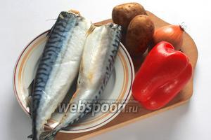 Для приготовления нам понадобятся скумбрия, картофель, лук репчатый, сладкий перец, масло растительное, приправа для рыбы и соль.