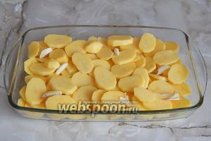 Нарезаем картофель плоскими кружочками, выкладываем в форму для запекания (с высокими бортиками), а поверх кладём очищенный и нарезанный кусочками свежий чеснок. Последний можно заменить сушёным. Немного просаливаем.