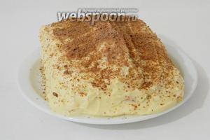 Готовый торт охлаждаем, украшаем по вкусу и подаём. Приятного чаепития!