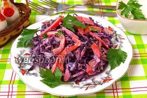 Салат из краснокочанной капусты с яблоками