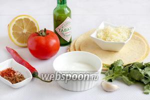Для приготовления кукурузных чипсов и соуса сальса возьмём лепёшки тортилья из кукурузной муки, тёртый сыр (лучше чеддер), перец чили, помидоры, лимонный сок, коричневый сахар, чеснок, соус табаско зелёный или красный, сметану 10% и соль по вкусу.