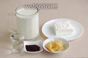 Для приготовления напитка нужно взять холодное пастеризованное молоко, мороженое «Пломбир» классическое с ванилином, натуральный мёд, воду и натуральный молотый кофе (1 ч. л. с верхом).