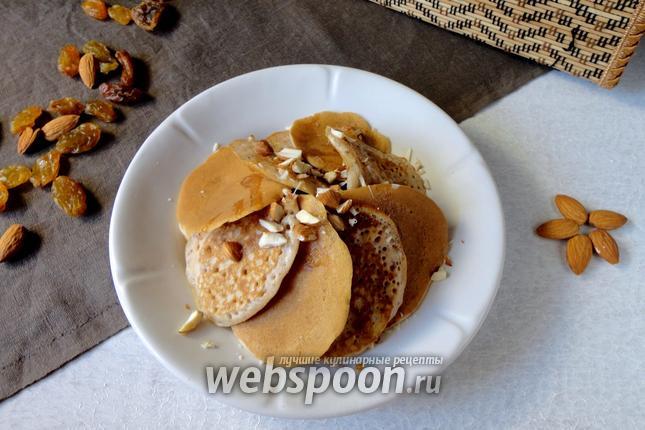 Фото Панкейки на ореховом молоке с изюмом
