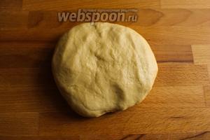 Переложите тесто на слегка присыпанную мукой поверхность и вымесите тесто в течение 5 минут. Если нужно немного добавьте муки, чтобы тесто не прилипало к рукам.