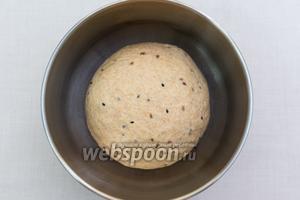 Подсыпая муку, замесим мягкое, эластичное тесто. Оно будет совсем чуть липнуть к рукам. Муки много добавлять не надо. Миску смажем подсолнечным маслом, выкладываем в неё тесто и накрываем плёнкой. Отправляем в тёплое место на 1 час.