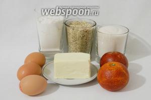 Для приготовления кекса из сицилийских апельсин возьмём муку, миндальную крошку, сахар, яйца, сицилийские апельсины, масло сливочное, разрыхлитель, соду.