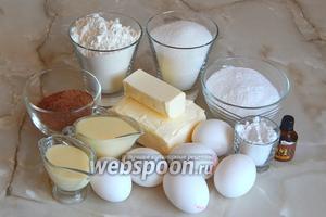 Необходимые для приготовления пирожного Картошка по ГОСТу продукты: мука пшеничная, сахар, сахарная пудра, крахмал, ромовая эссенция, яйца куриные, масло сливочное, молоко сгущённое, какао-порошок.