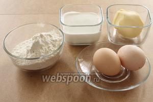 Для кете нам понадобятся масло сливочное, яйца, сметана , мука, щепотка соли.